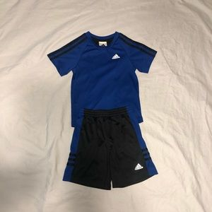 Boys Adidas Soccer Short Set Blue & Black 3T